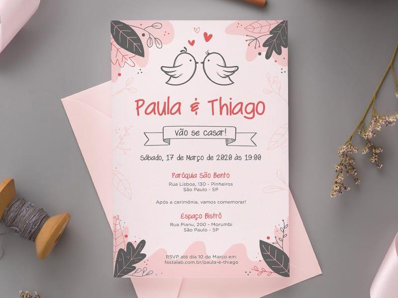 Convite de Casamento - Pombinhos