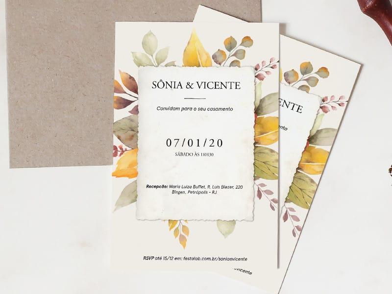 Crie seu convite de casamento - Folhagem de Outono| Festalab