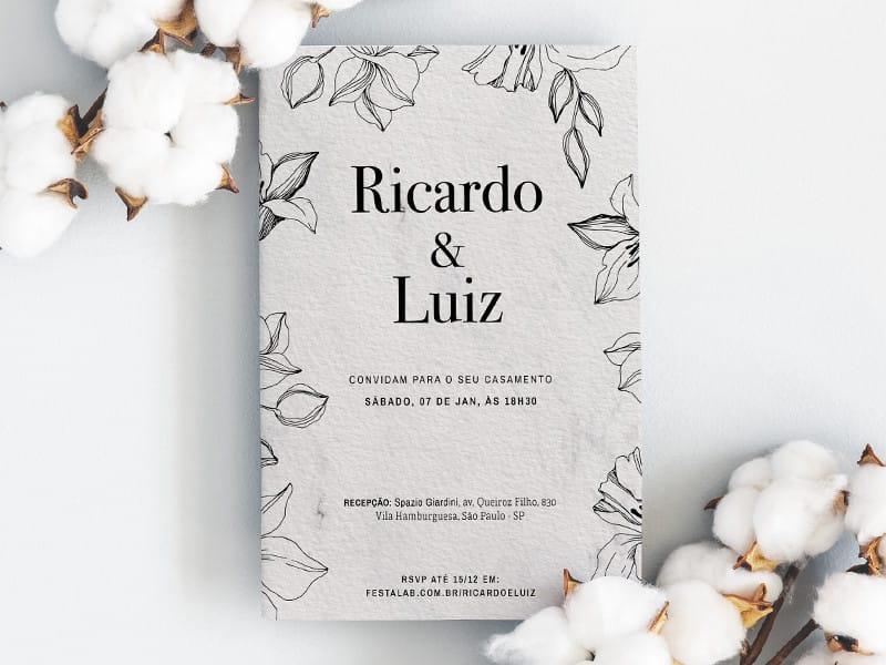 Convite de Casamento - Flores Romantico