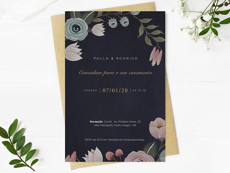 Crie seu convite de casamento - Flores Escuro| FestaLab