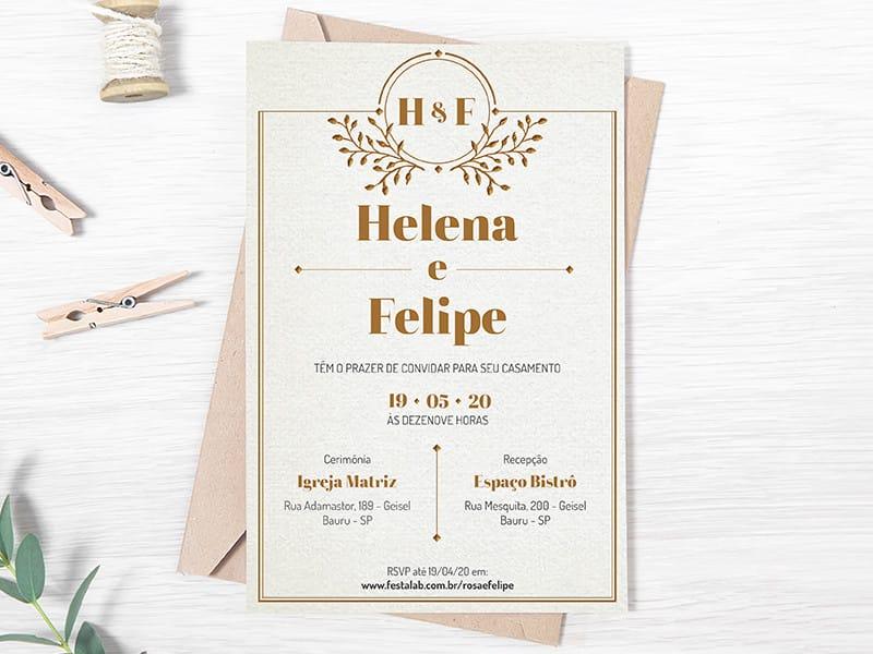 Convite de Casamento - Classico dourado