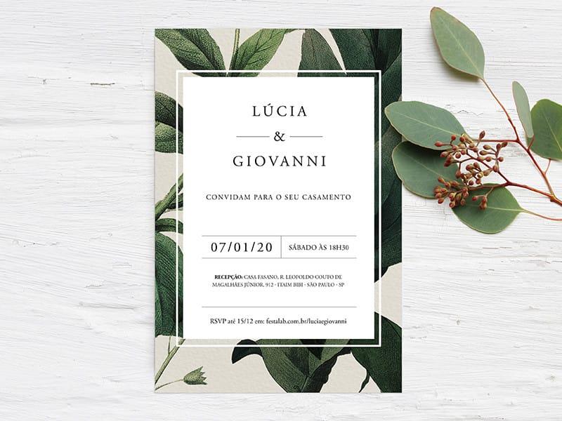 Crie seu convite de casamento - Folhagem Moderno| Festalab