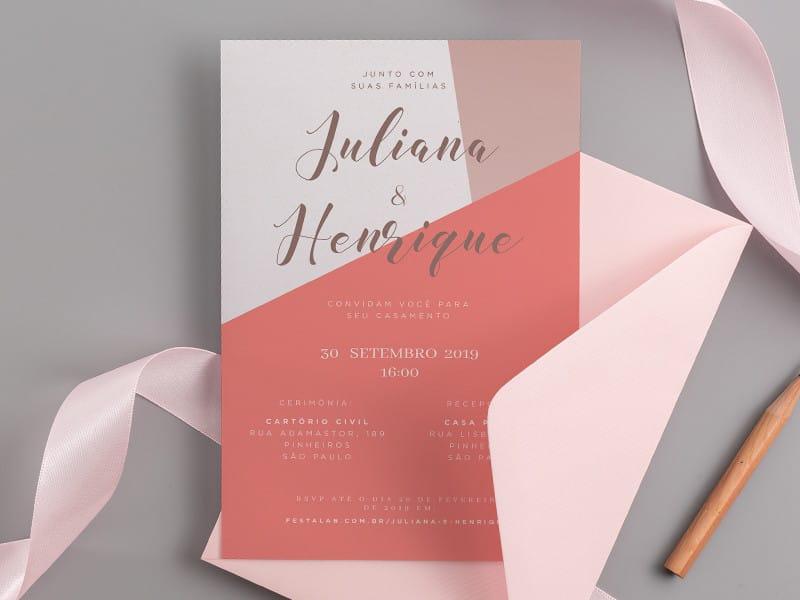 Crie seu convite de casamento - Minimalista terracota| Festalab
