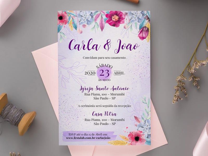 Convite de Casamento - Florido moderno roxo