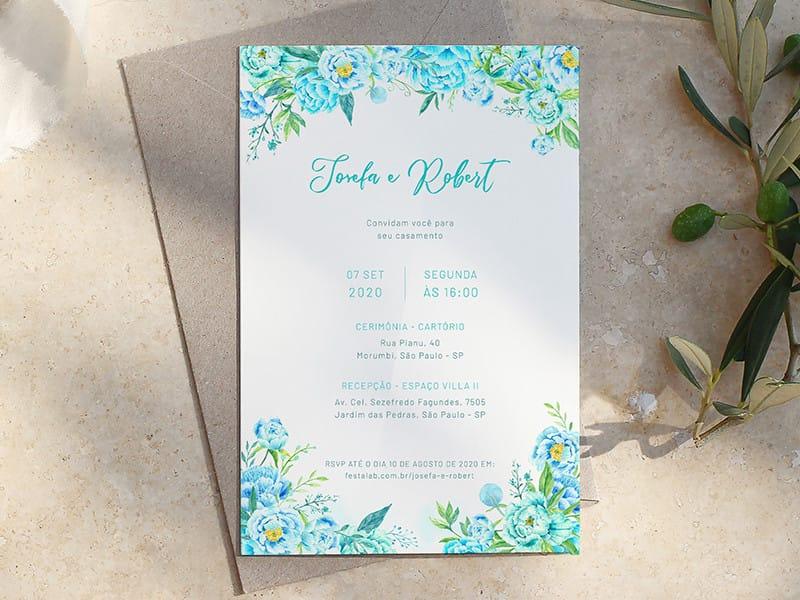Crie seu convite de casamento - Floral| Festalab