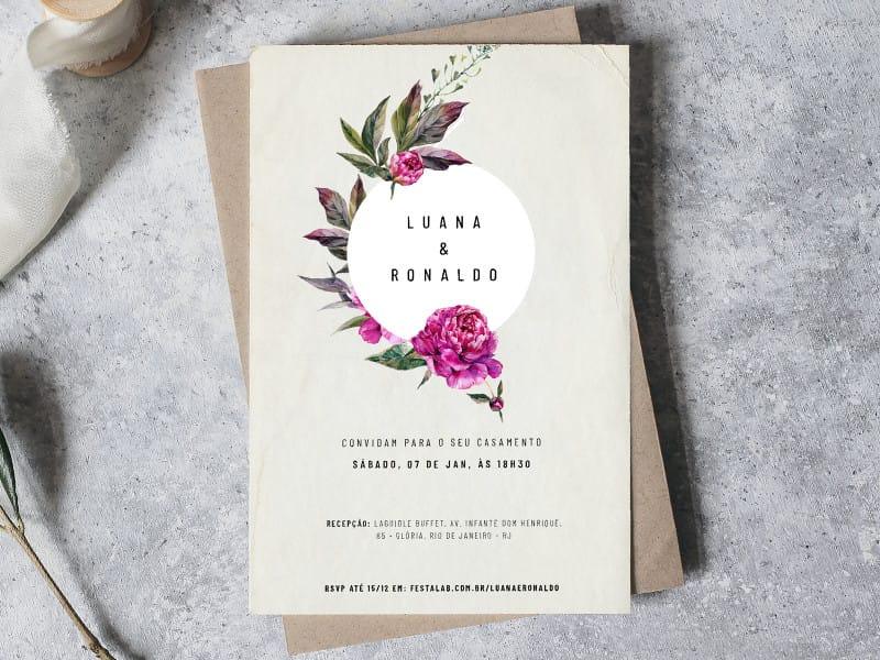 Crie seu convite de casamento - Peônias Roxas  FestaLab
