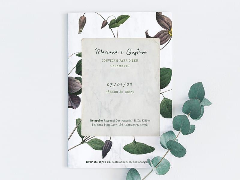 Crie seu convite de casamento - Floral Moderno| Festalab