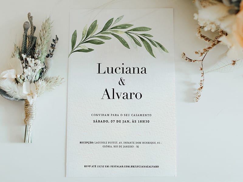 Crie seu convite de casamento - Minimalista Visco| Festalab
