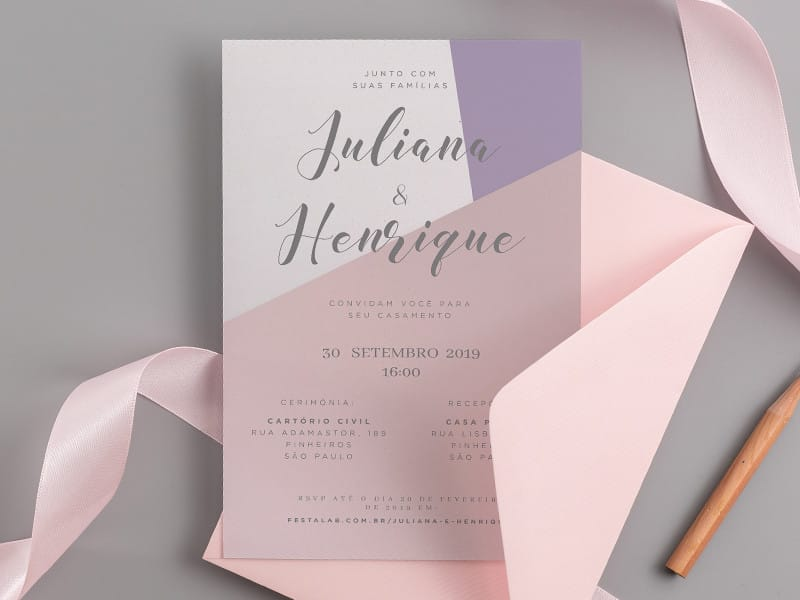 Convite de Casamento - Minimalista lavanda