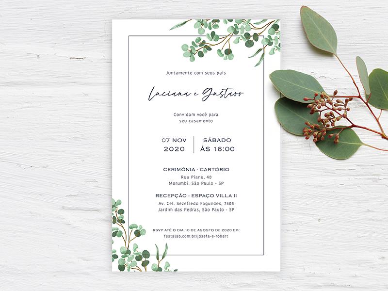 Crie seu convite de casamento - Folhas  FestaLab