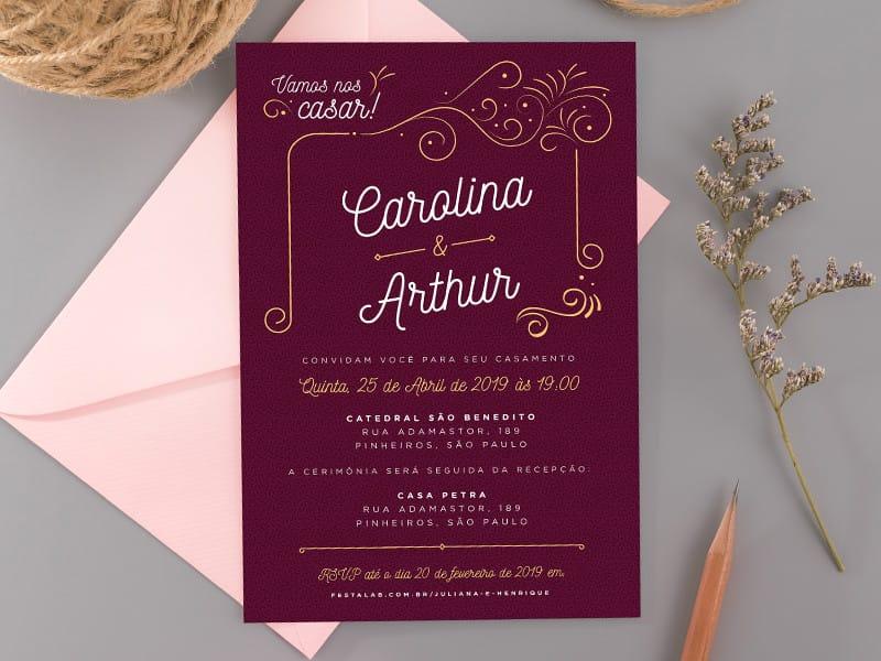 Crie seu convite de casamento - Ornamental marsala| Festalab