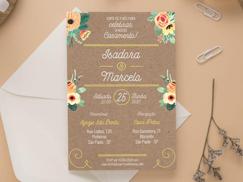 Convite de Casamento - Rustico Rosa
