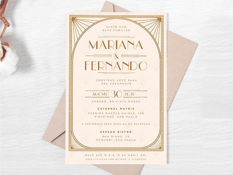 Crie seu convite de casamento - Vintage creme| Festalab