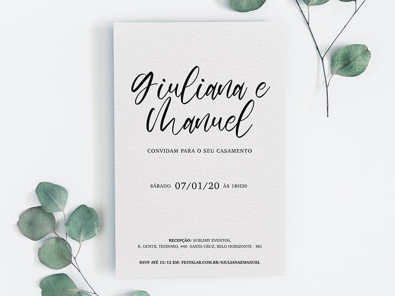 Convite de Casamento - Simples Delicado