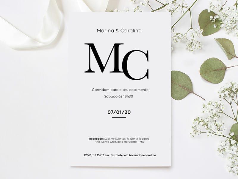 Crie seu convite de casamento - Clássico branco| Festalab