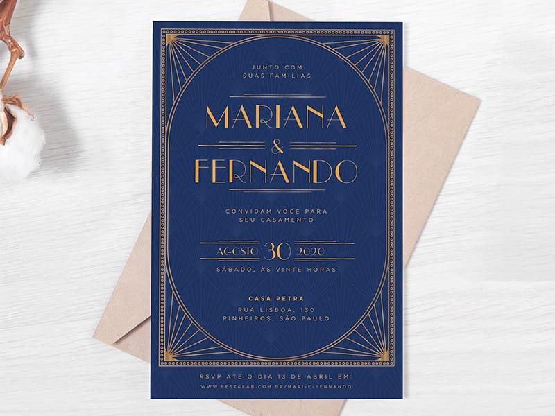 Convite de Casamento - Vintage azul marinho