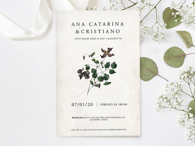 Convite de Casamento - Minimalista Bouque
