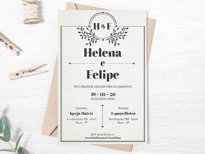 Convite de Casamento - Classico cinza