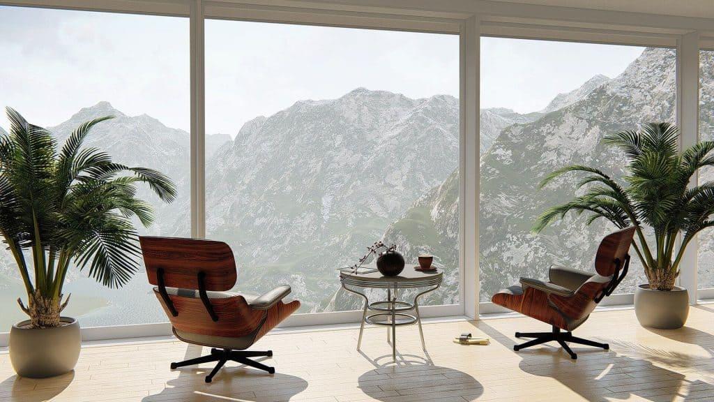 Sala com vista para os alpes
