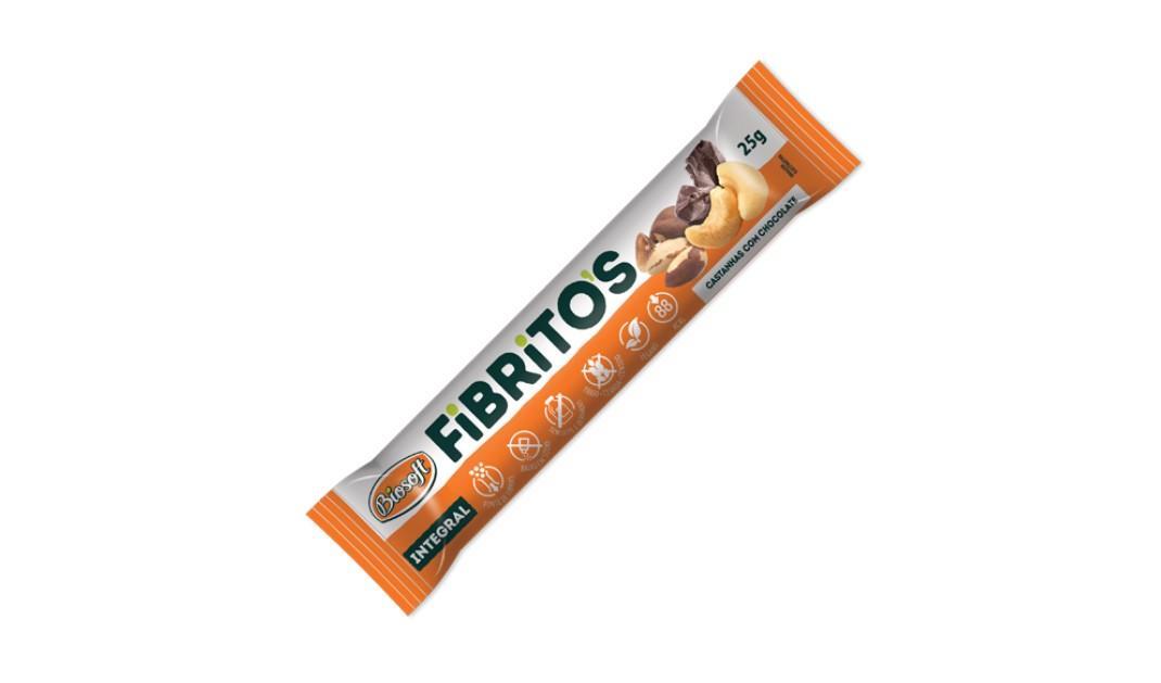 BARRA FIBRITOS CASTANHAS C/ CHOCOLATE 25g (biosoft)
