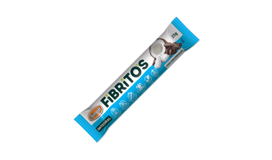BARRA FIBRITOS COCO C/ CHOCOLATE 25g(biosoft)