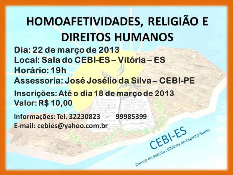 CEBI-ES: Homoafetividades, Religião e Direitos Humanos