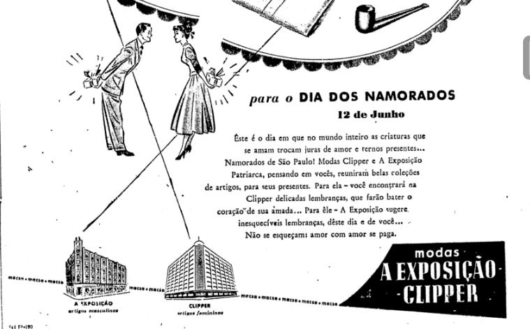 """Anúncio das lojas A Exposição Clipper sobre o Dia dos Namorados publicado em 1948: """"Amor com amor se paga"""""""