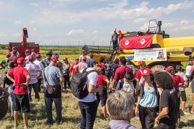 Assentados do MST festejam colheita de 16 mil toneladas de arroz no Rio Grande do Sul