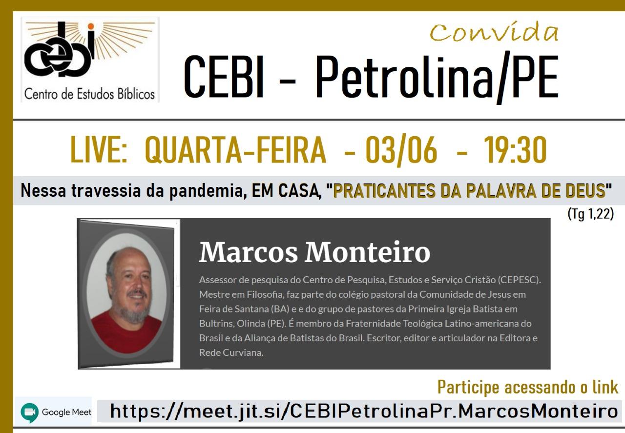 CEBI Petrolina promove reflexão sobre Blíbia e isolamento social