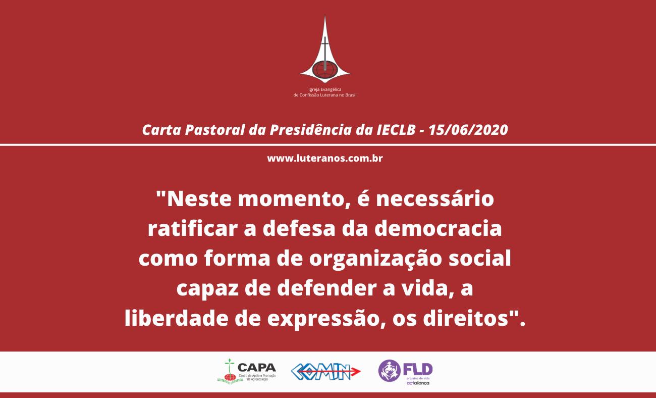 Carta pastoral da IECLB ratifica a defesa da democracia
