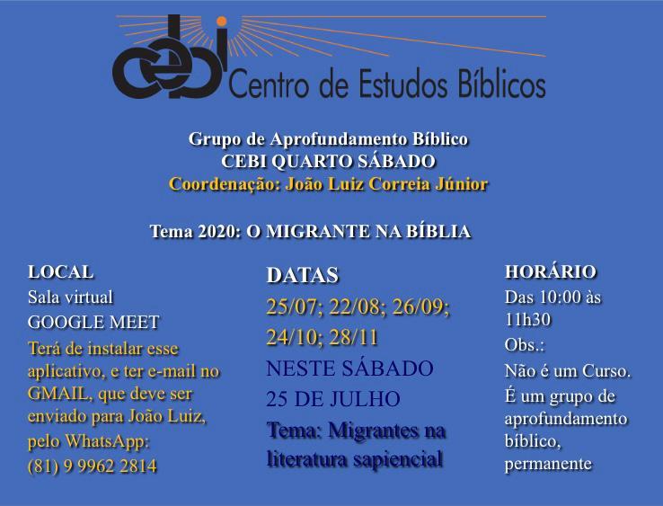 CEBI Pernambuco retoma Grupo de Aprofundamento Bíblico