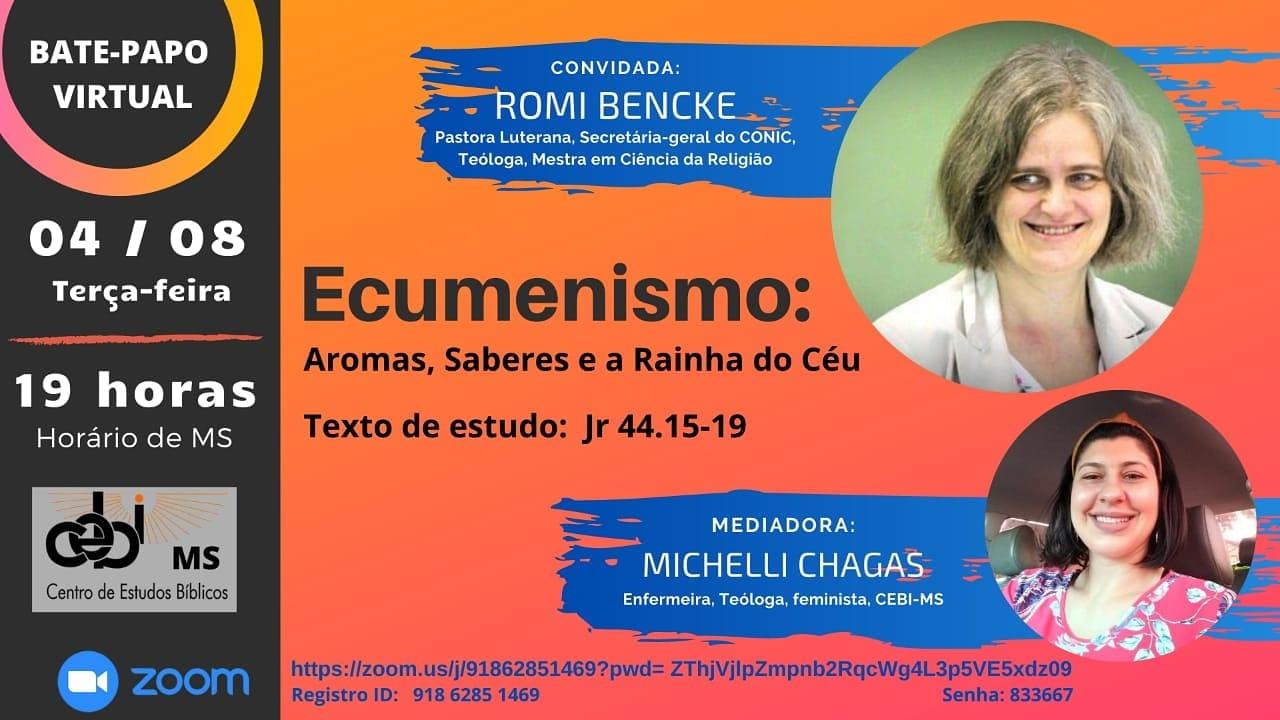 """CEBI MS Realiza a live """"Ecumenismo- Aromas, saberes e a Rainha do Céu"""""""