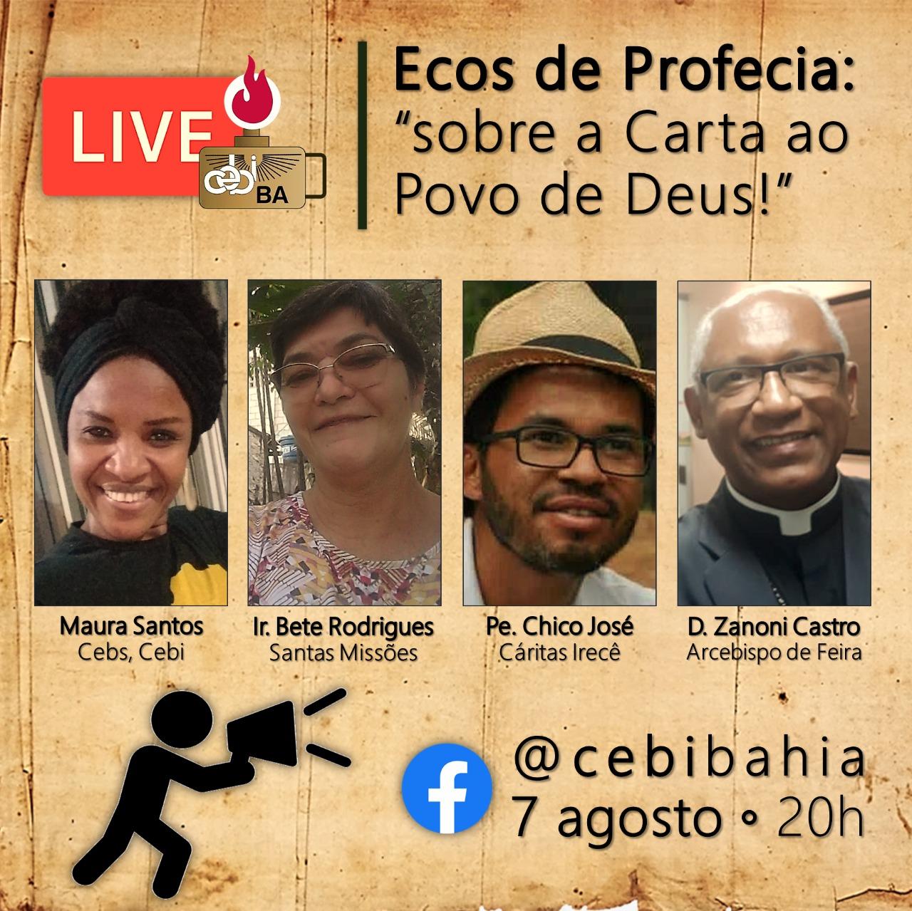 """CEBI Bahia promove live """" Ecos da Profecia: sobre a carta ao Povo de Deus"""""""