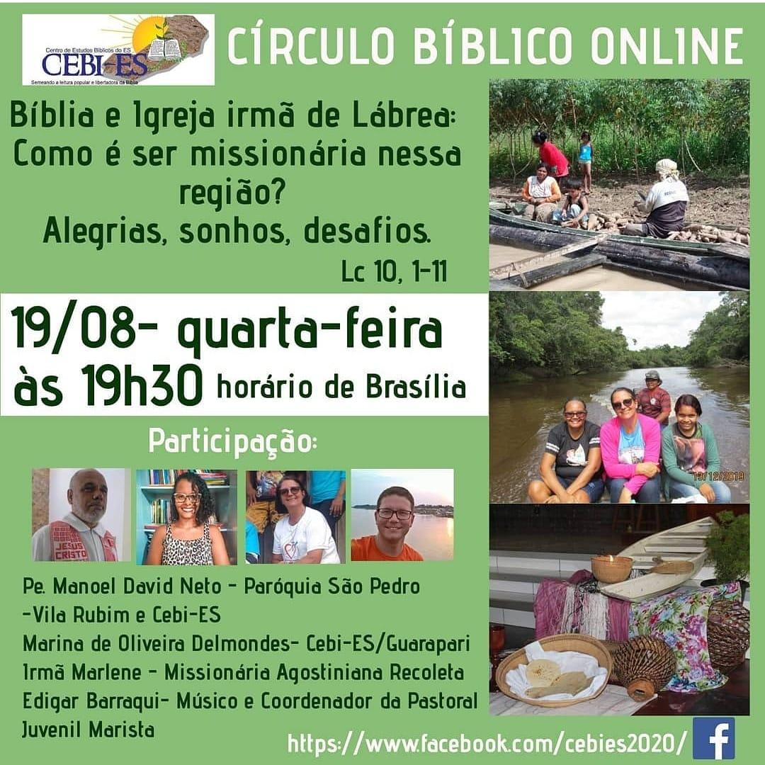 CEBI Espírito Santo realiza Círculo Bíblico Online nesta quarta