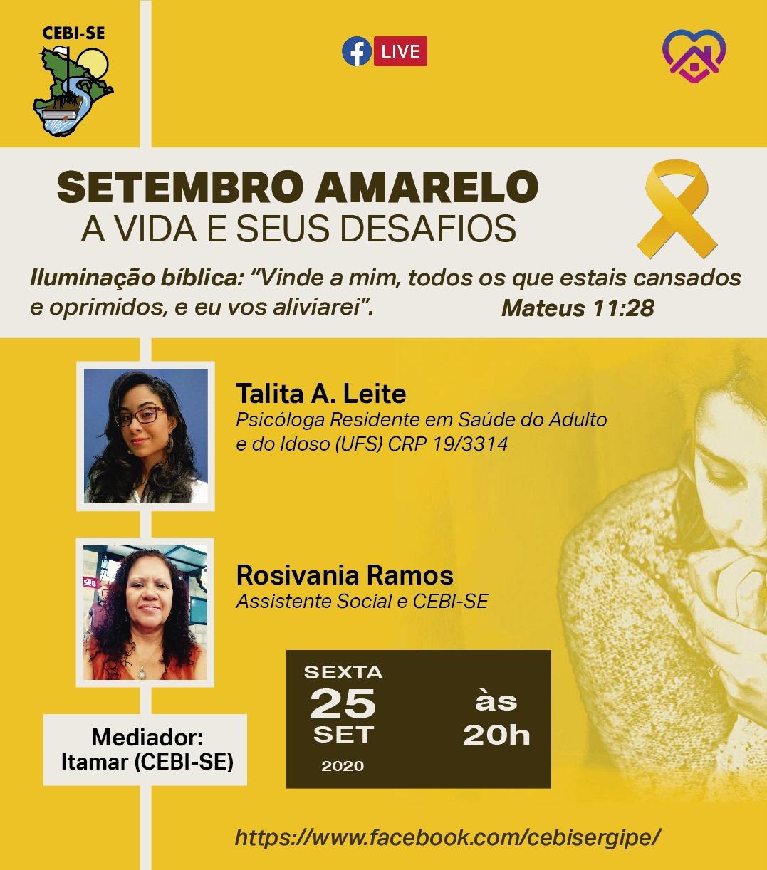 CEBI Sergipe tem live sobre Setembro Amarelo