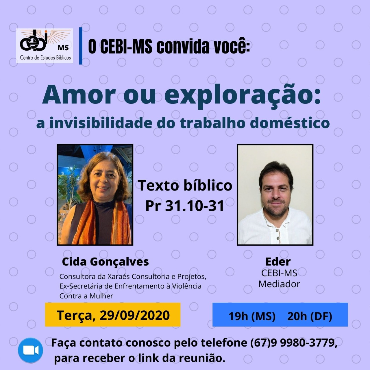 CEBI Mato Grosso do Sul debaterá a invisibilidade do trabalho doméstico