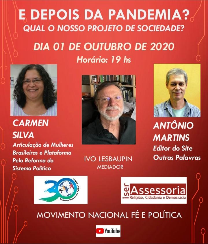 Movimento Nacional Fé e Politica realizará live sobre pós-pandemia e projeto de sociedade