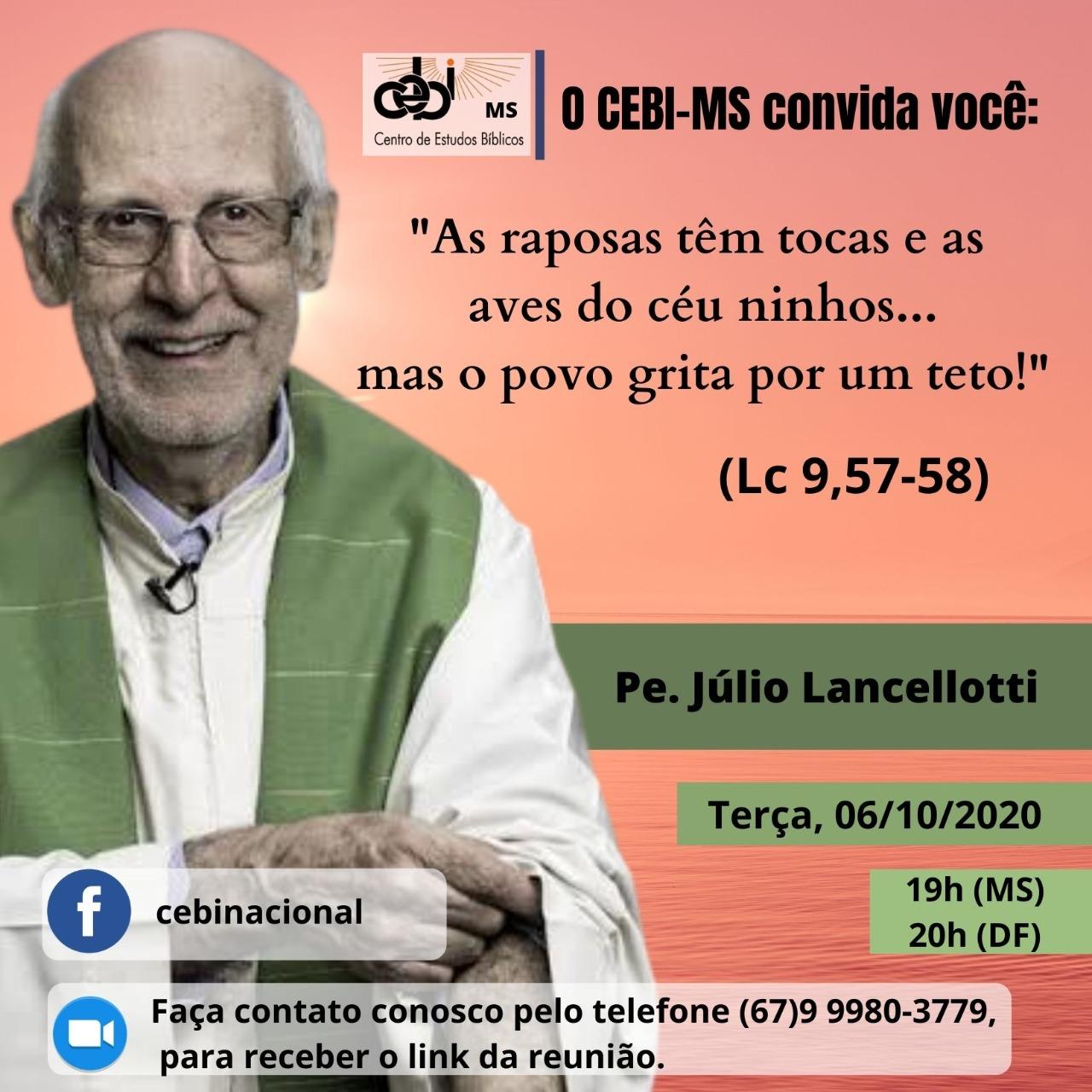 CEBI Mato Grosso tem Live com o Pe.Júlio Lancellotti