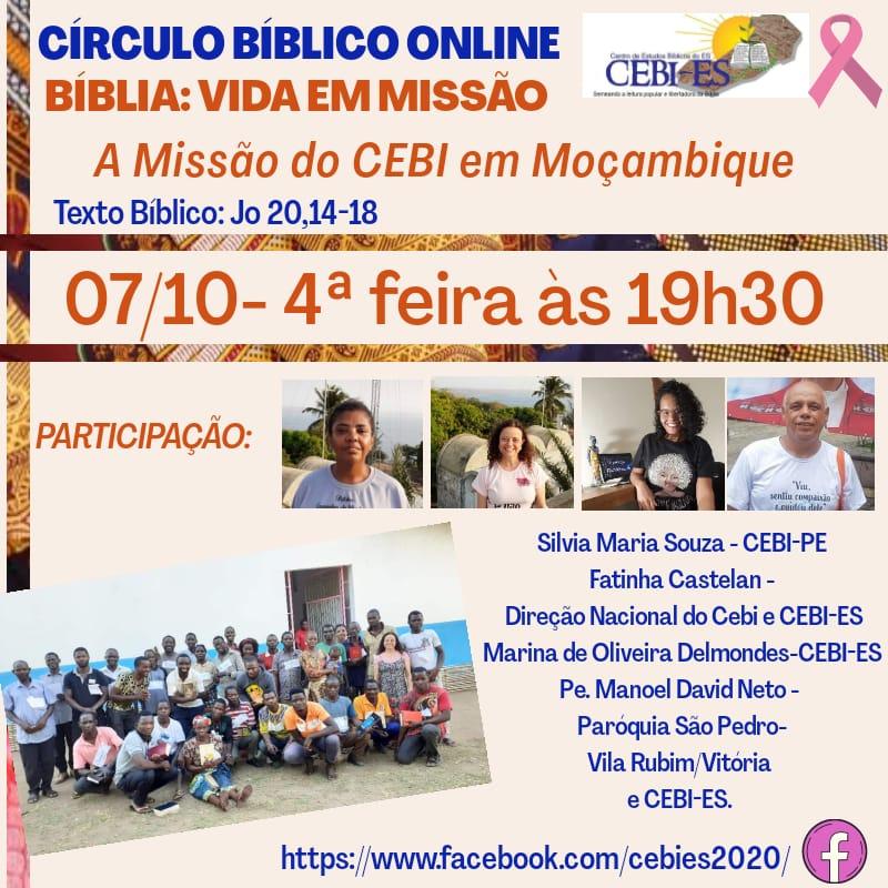 CEBI Espírito Santo realizará live sobre a missão do CEBI em Moçambique