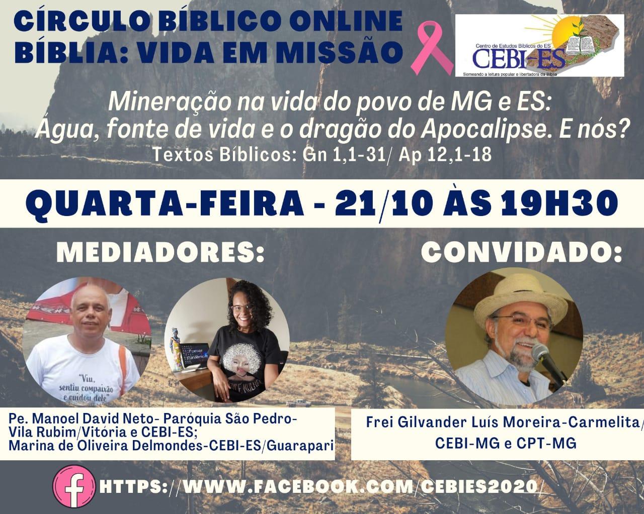 CEBI ES realiza mais um Círculo Bíblico Online sobre mineração na vida do povo de MG e ES