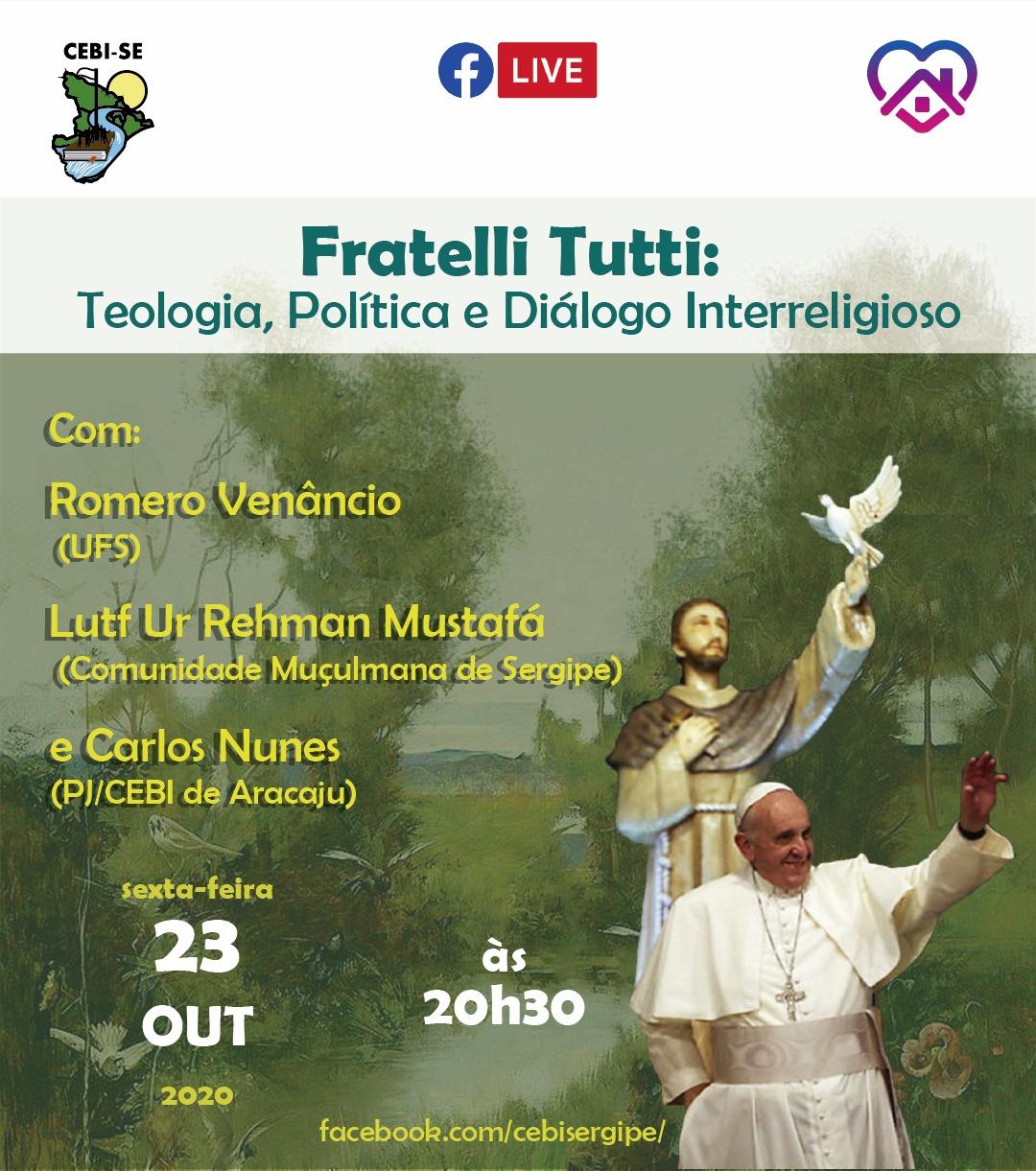 A nova encíclica Fratelli Tutti será tema de live do CEBI Sergipe