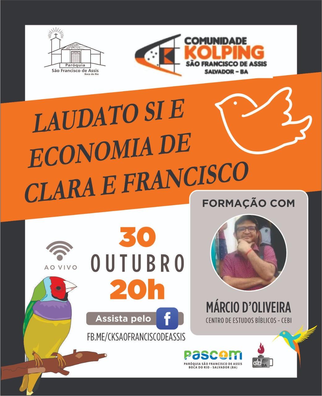 Obra Kolping e CEBI Bahia realizam live sobre a Laudato Si e a economia de Francisco