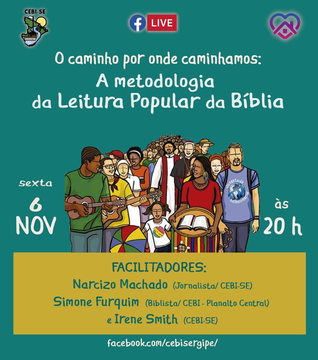 CEBI Sergipe realizará live sobre a metodologia da Leitura Popular da Bíblia