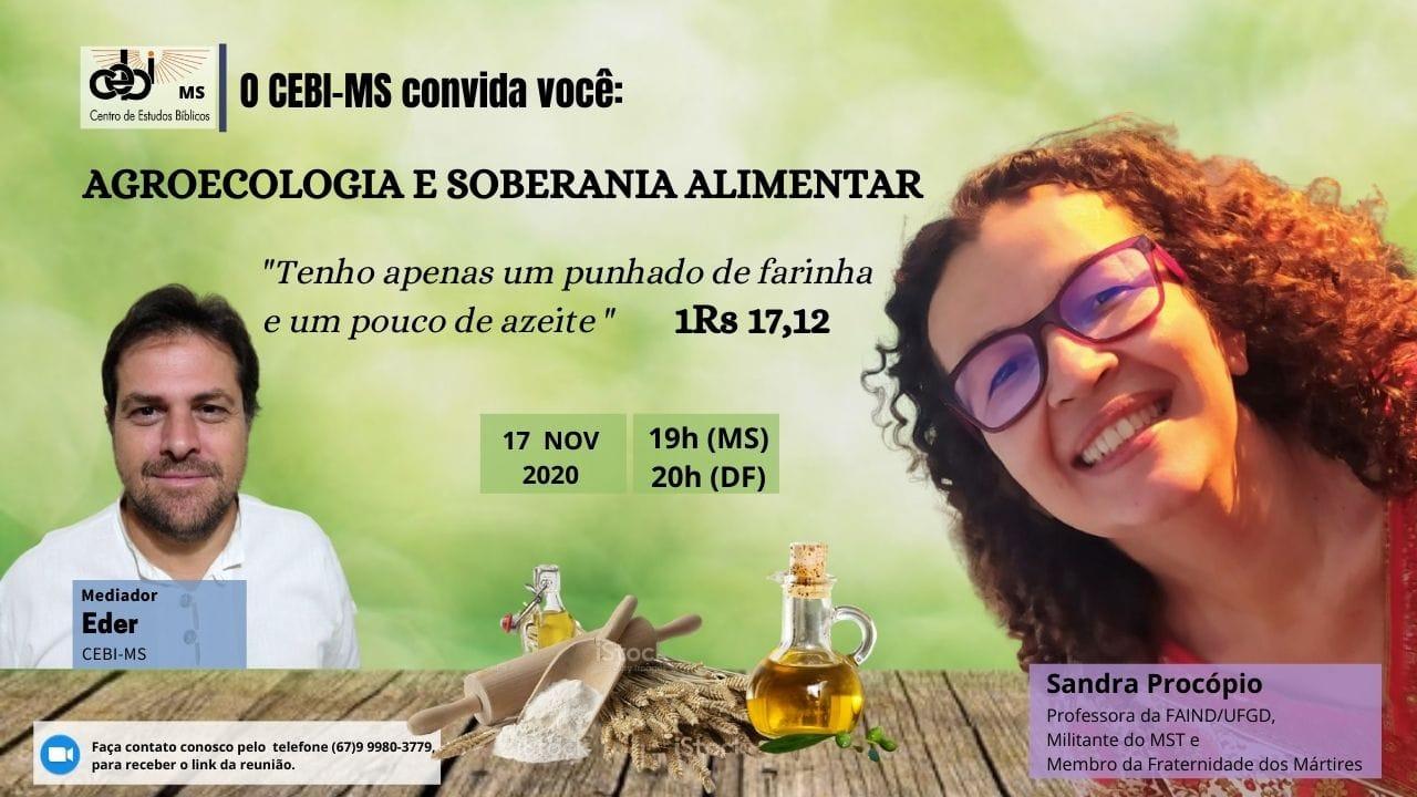 Agroecologia e soberania alimentar é tema de live do CEBI MS