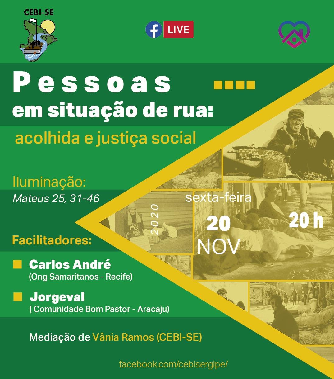 Live do CEBI Sergipe refletirá  a situação do povo de rua