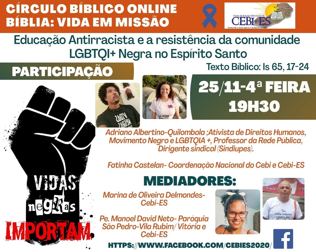 Circulo Bíblico do CEBI ES debaterá a educação antirracista