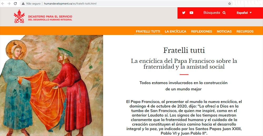 Vaticano cria site para acompanhar a aplicação da encíclica 'Fratelli Tutti'