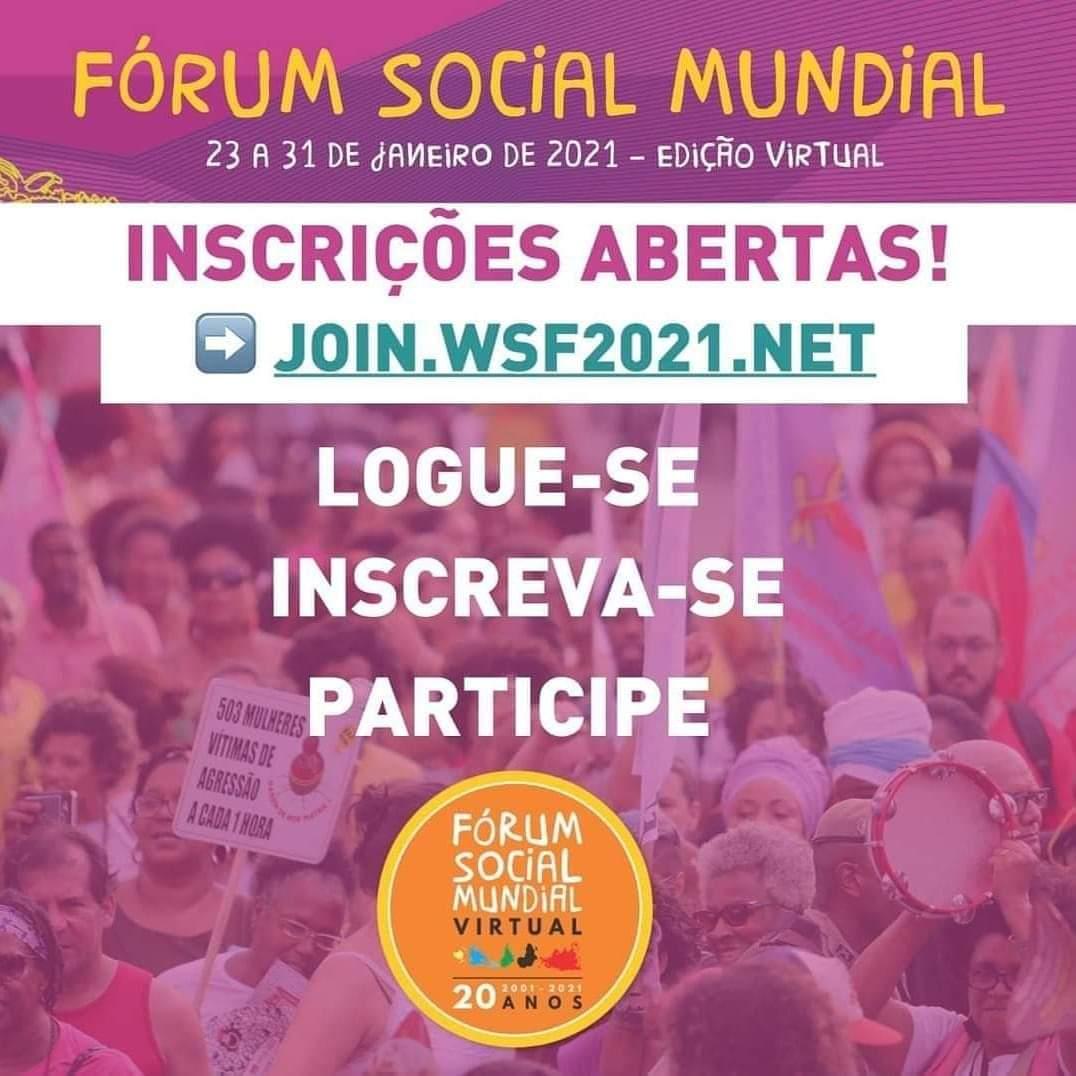 Fórum Social Mundial Virtual 2021 abre inscrições