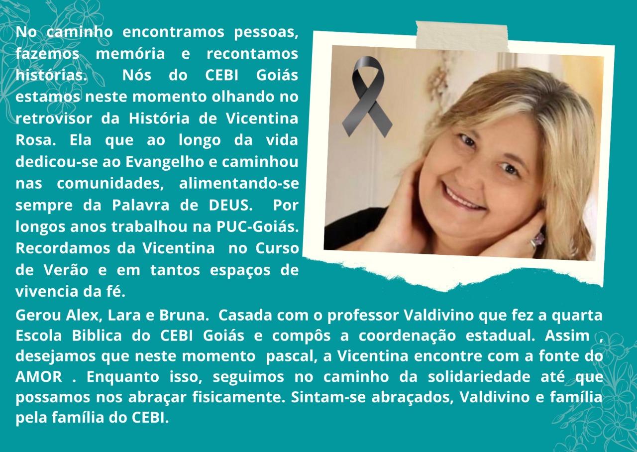 CEBI Goiás – Nota de pesar pela Pascoa de Vicentina Rosa