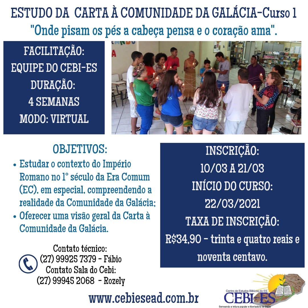 """CEBI ES abre inscrição para Curso """"Estudo da Carta à Comunidade da Galácia """""""
